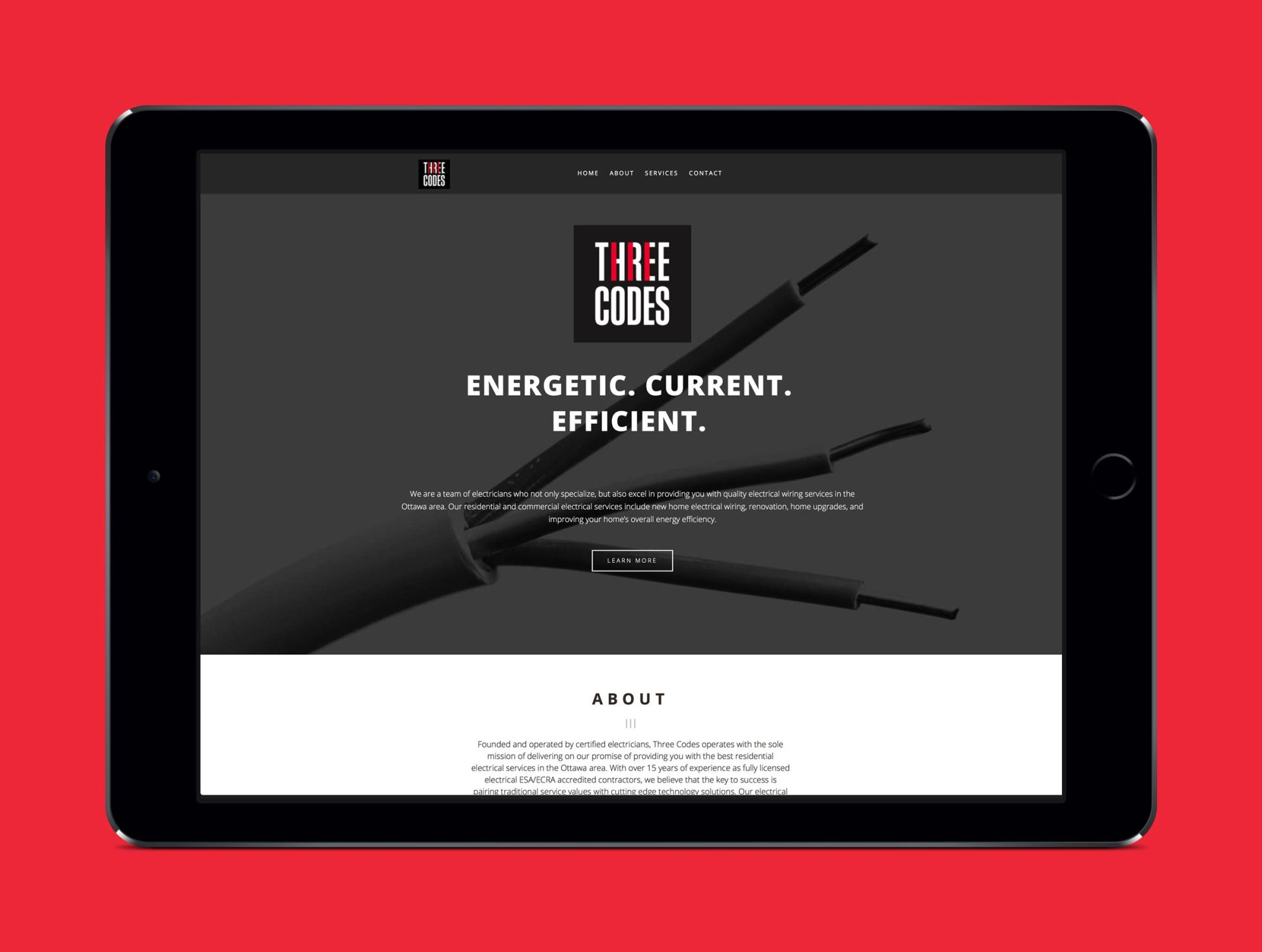 hight resolution of website for three codes an electrical company by ottawa graphic designer idapostle