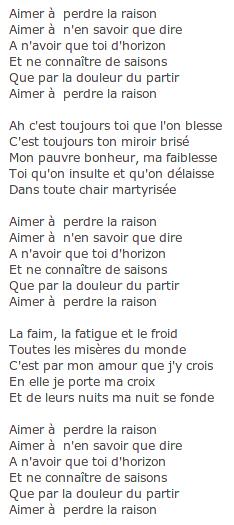 Parole Aimer à Perdre La Raison : parole, aimer, perdre, raison, FERRAT, Parti, Communiste, Français, Aveyron