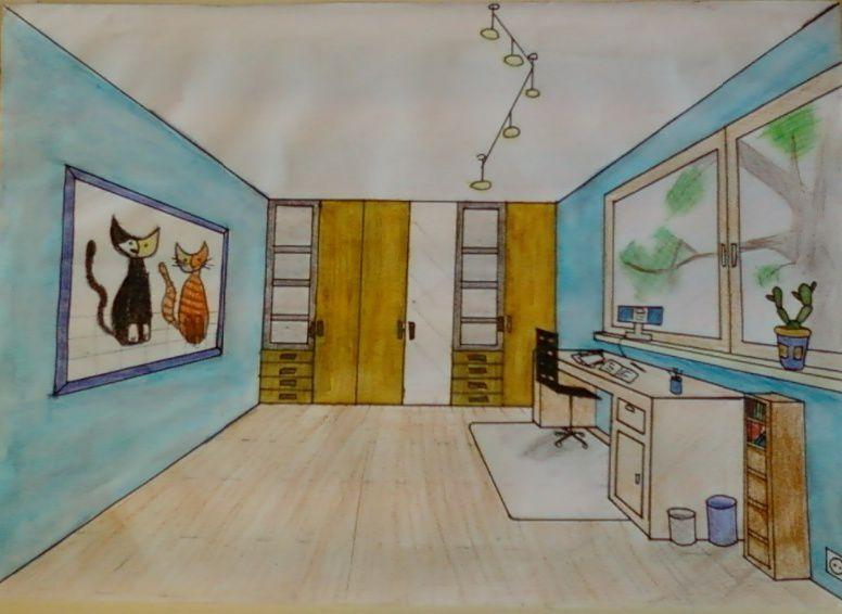 Chambre A Coucher En Perspective  1 Point De Fuite  Design de maison