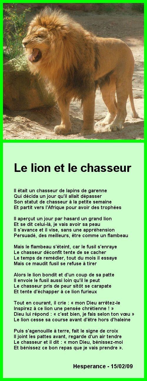 Le Lion Et Le Chasseur : chasseur, Chasseur, BIENVENUE-CHEZ-CAMILLE