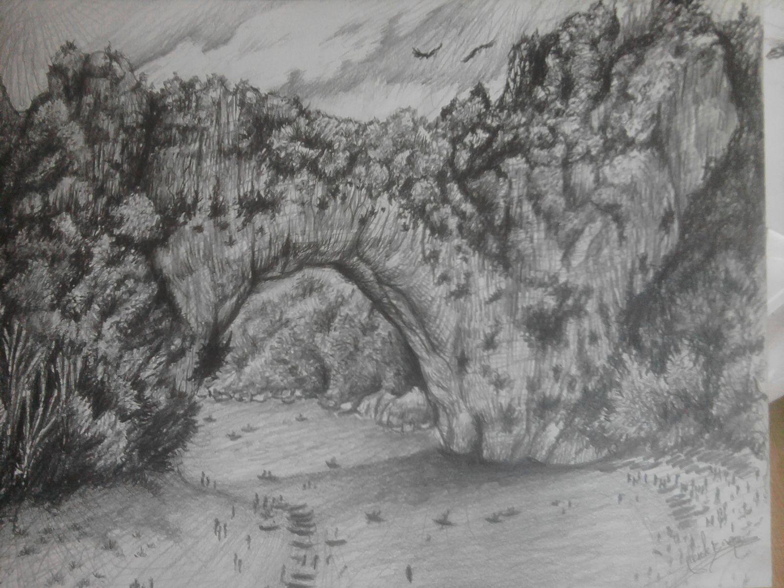 dessin dessin paysage tableau crayon paysages crayon palmiers