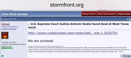 How bad was Justice Scalia? Bad enough for neo-Nazis to say this upon hearing about his passing!