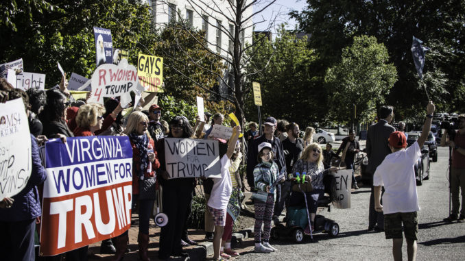 Corey Steward's protest against trump organized with Virginia Women for Trump.
