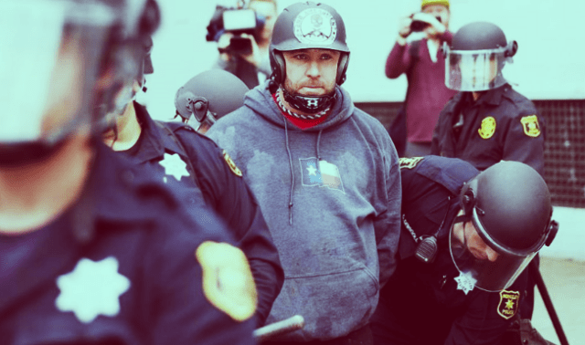 Kyle Sean Chapman getting arrested on March 4.
