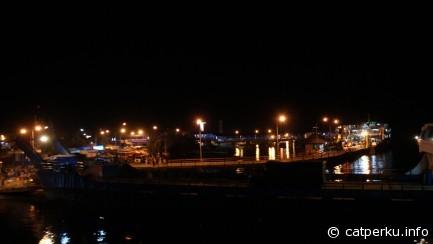 Suasana pelabuhan Gilimanuk di malam hari