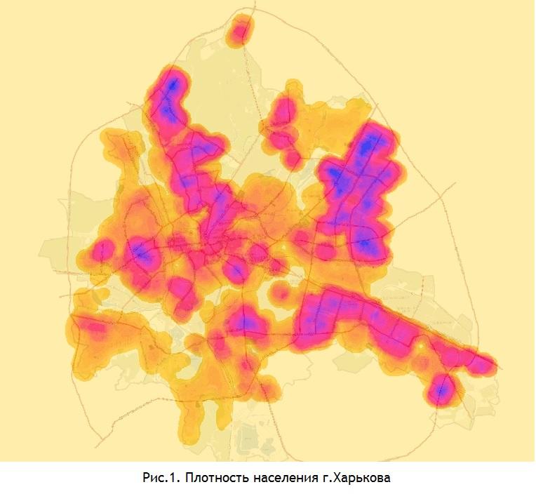 Плотность населения г. Харькова