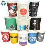 paper cups with logo designs from many companies sold by ide reklame