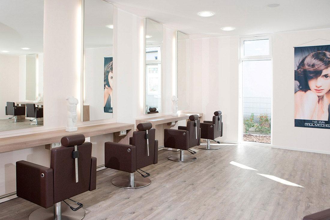 Friseureinrichtung, Friseurbedarf, Friseurspiegel, Friseurstuhl, Bedienplatz