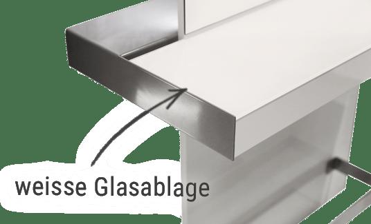 Friseur Bedienplatz, Friseureinrichtung, wechselbare Glasablage weiß