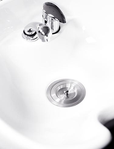 Friseur Waschbecken, Waschanlage, Abfluss und Hahn