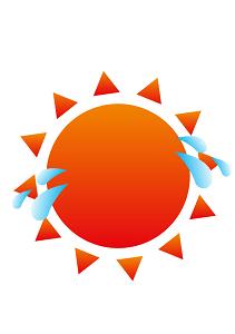 汗をかく太陽のイラスト