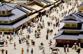 江戸時代の町のジオラマ