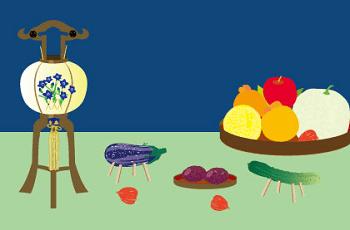 お盆の精霊馬やお供物などのイラスト