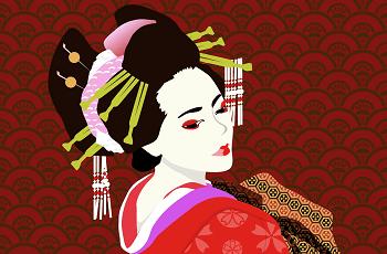 紅と白粉をつけた女性のイラスト