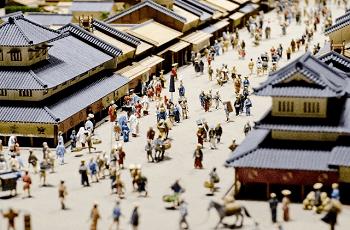 江戸の町のジオラマ