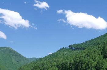 夏の青空と緑の山々