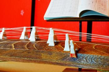 琴と譜面台の載せた楽譜