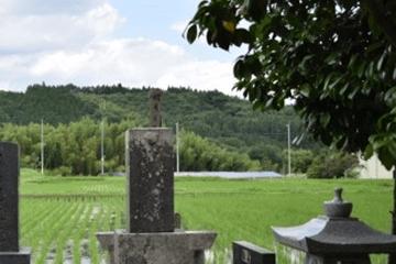 墓石と田畑と山