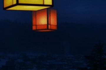 夜の灯りと雪景色