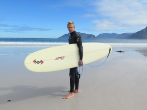 Michael Bradshaw ready to paddle out into the waves at Longbeach, Kommetjie. (Copyright © 2015 by Chesney Bradshaw, all rights reserved)