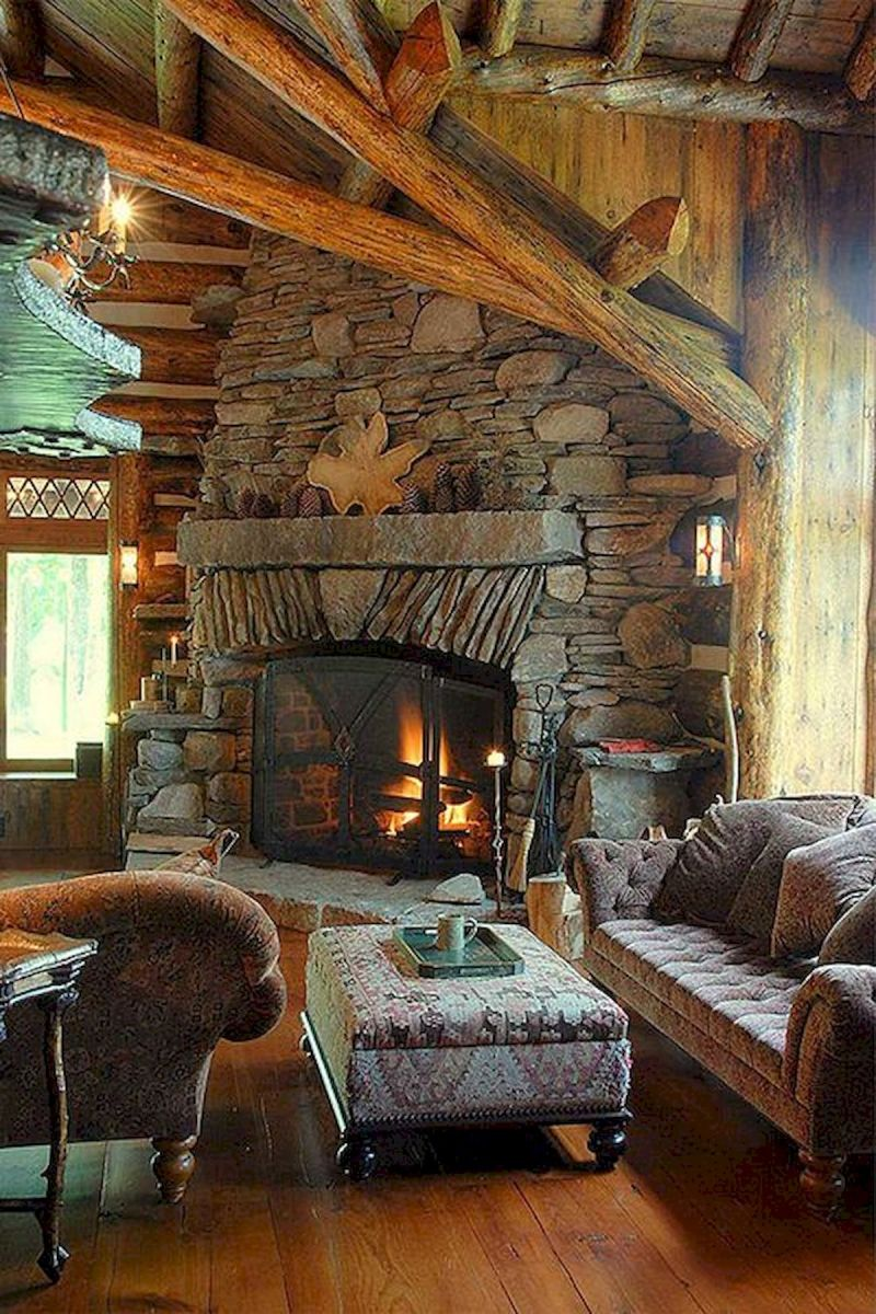 63 Best Log Cabin Homes Fireplace (42)