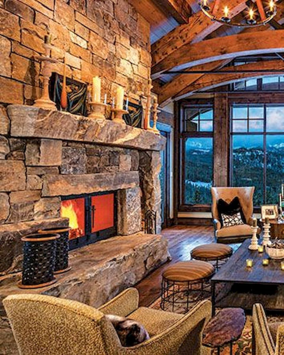 63 Best Log Cabin Homes Fireplace (52)