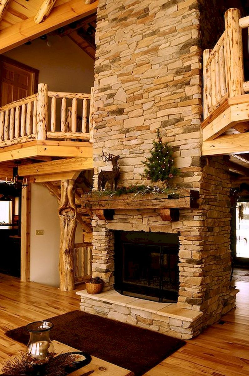 63 Best Log Cabin Homes Fireplace (56)