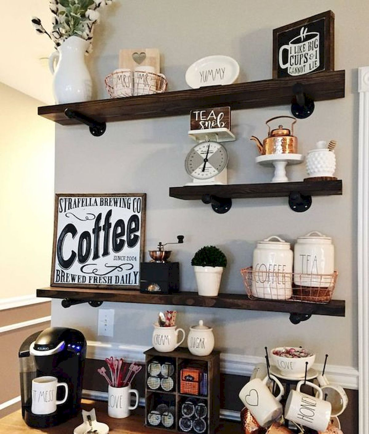 Home Coffee Bar Design Ideas: 60 Amazing Mini Coffee Bar Ideas For Your Home (48)