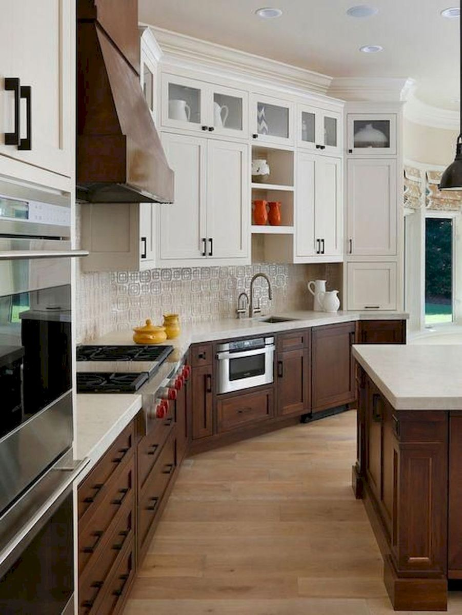 15 Fancy kitchen ideas Using a combination of brown wood (1)