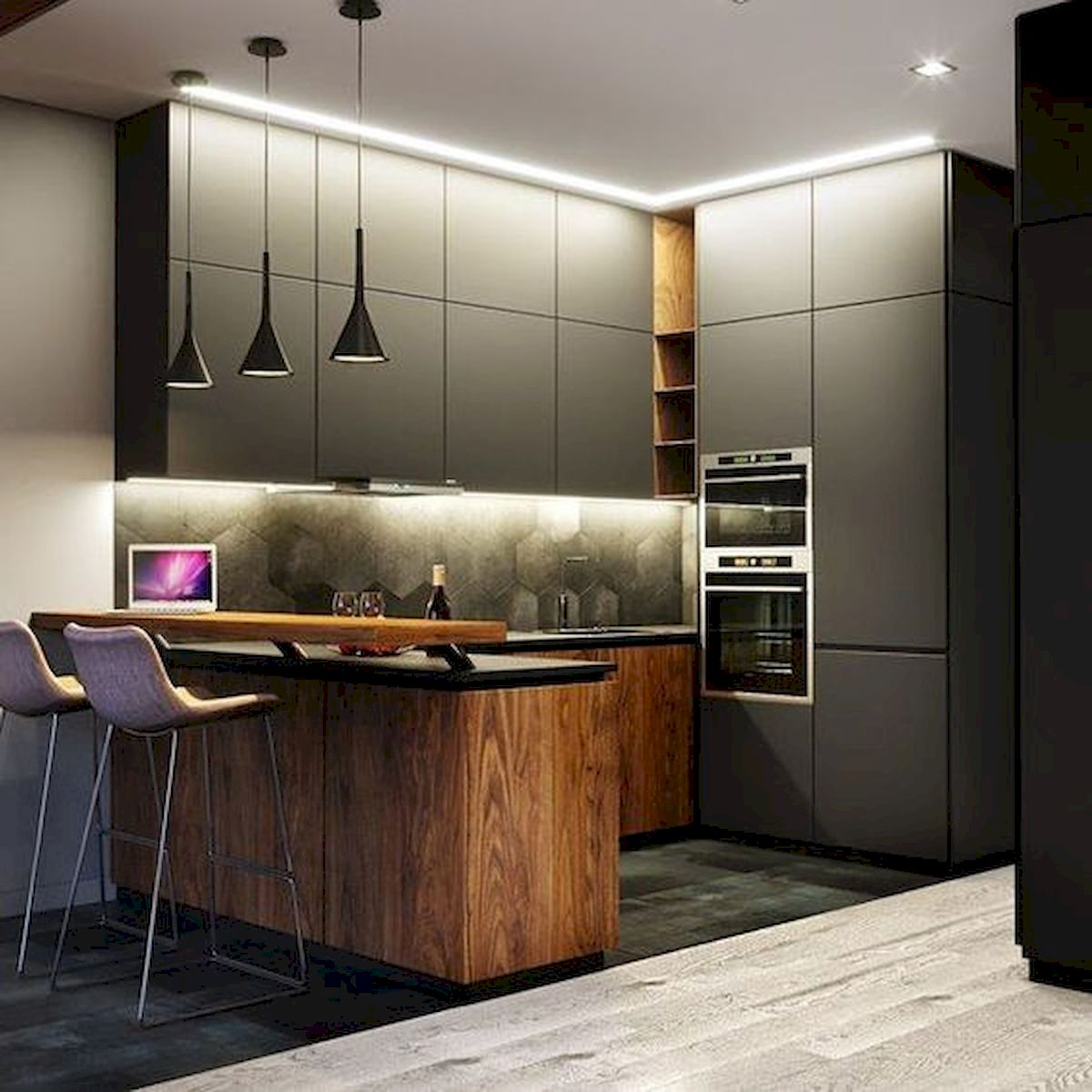 15 Fancy kitchen ideas Using a combination of brown wood (11)
