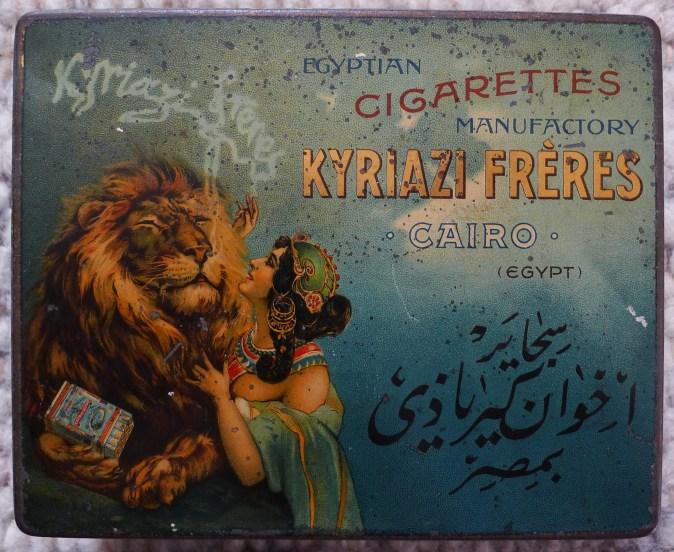 KYRIAZI FRERES Egyptian Cigarette Tin c1890 LADY & LION. (box for 100 Egyptian Cigarettes IMPERATOR MINCE) Rare vintage antique Egyptian Cigarette Tin Box by KYRIAZI FRERES manufactured at 1890.