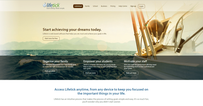 Start achieving your dreams today. Lifetick is web based software that helps you set, track and achieve your goals in life. Start now for free.