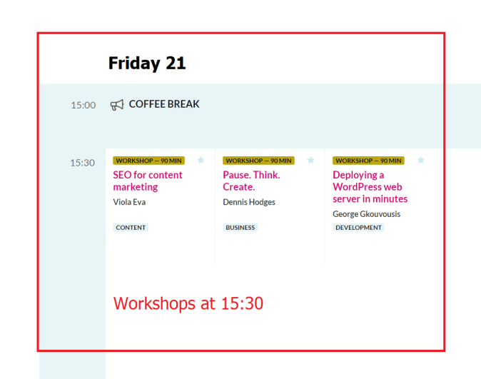 WordCamp Europe 2019 Workshops Friday 21 at 15.30