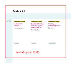 Wordcamp Europe 2019 Workshops Friday 21 at 17.00