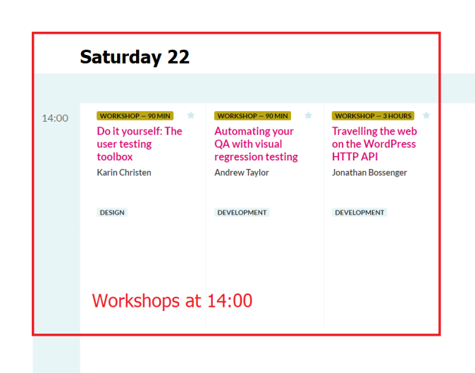 WordCamp Europe 2019 Workshops Saturday 22 at 14.00