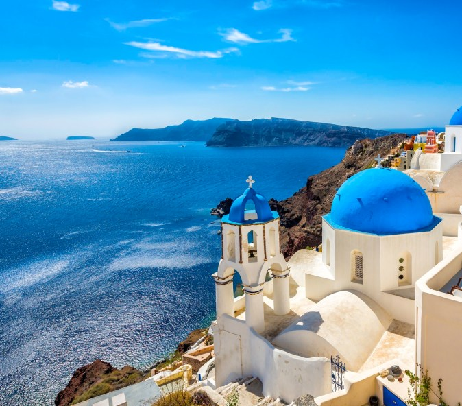 Discover all shades of blue in Santorini