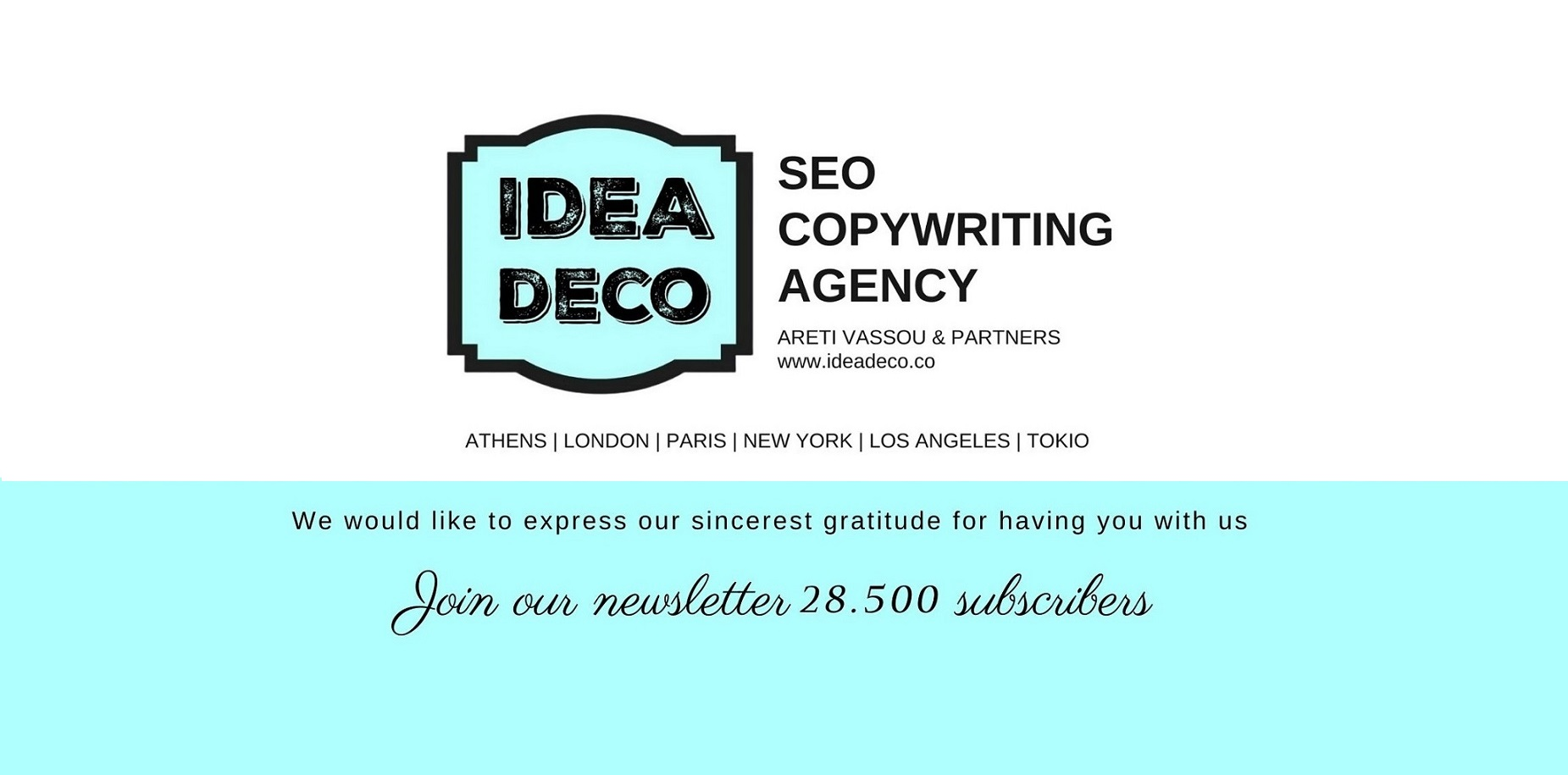 Join IDEADECO 28.500 newsletter subscribers