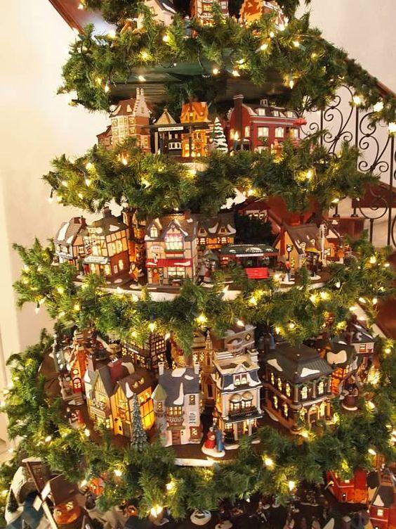 Un villaggio nel tuo albero di Natale 15 esempi
