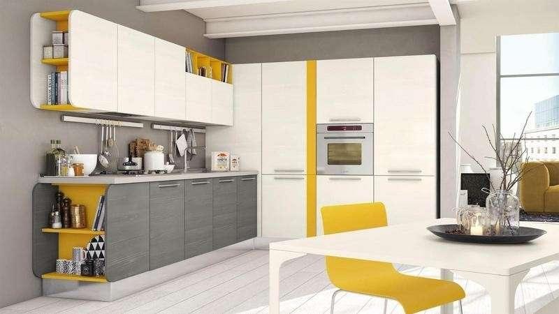 Cucina Moderna Bianca E Grigia | Iles Suspended Living Room ...