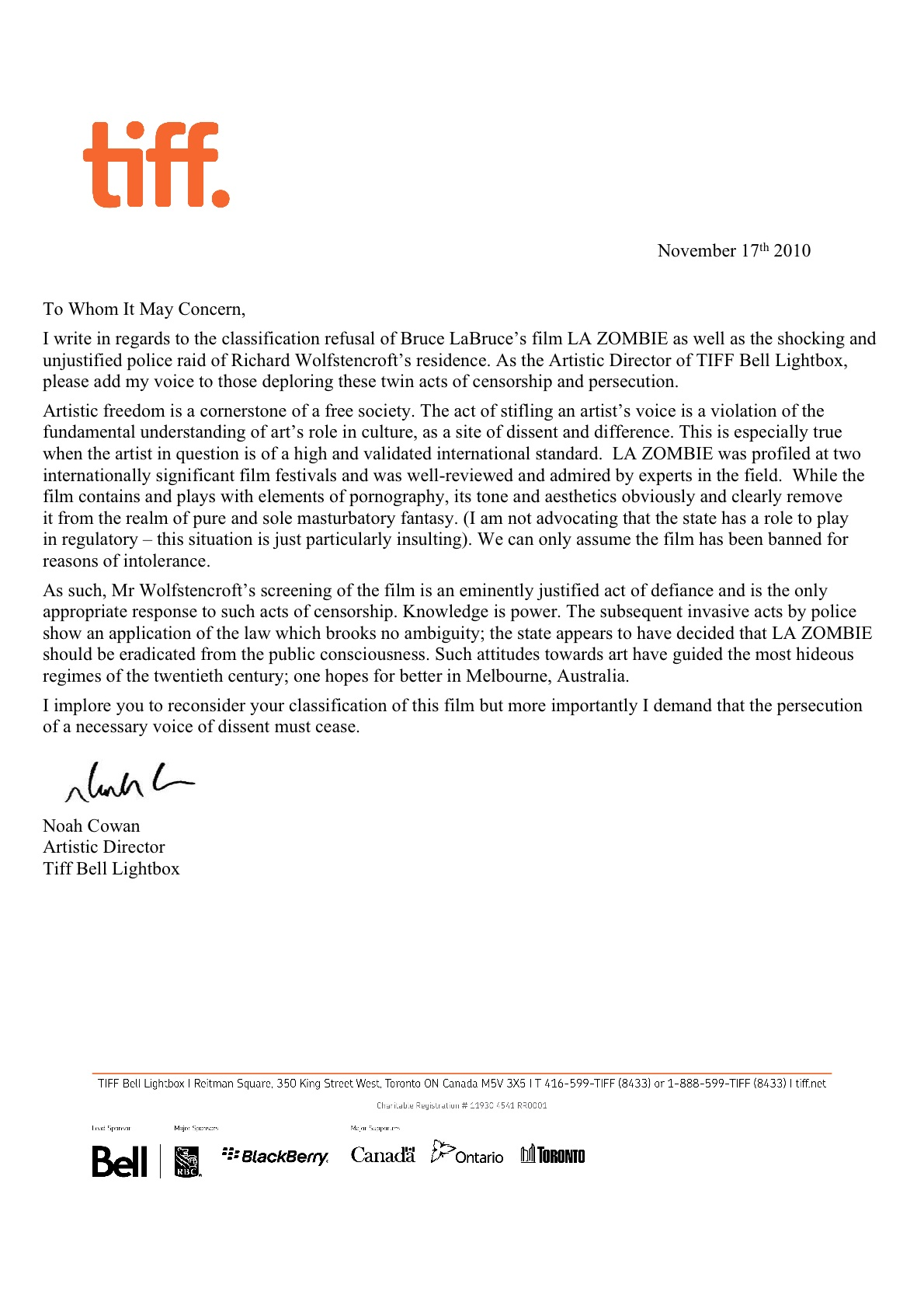 Letter of Support from Toronto International Film Festival