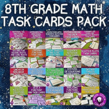 Use task cards to get students practice with their middle school math skills. Great alternative to math worksheets!