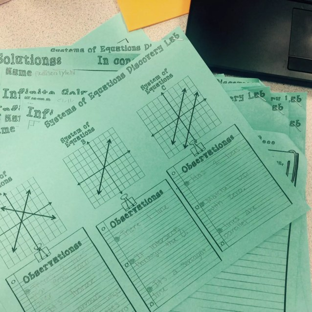 Students make observations from graphs to uncover the patterns of systems of equations. This systems of equations discovery lab promotes deeper understanding.