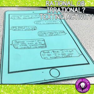 Review rational and irrational numbers with a bit of creativity. Using text messages, students can show their understanding of the differences between rational numbers and irrational numbers. Going to download this FREEBIE now!!