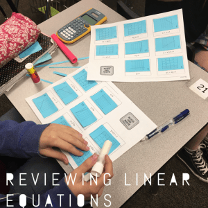 Hands on review to get students matching linear equations shown different ways. Great way to review!