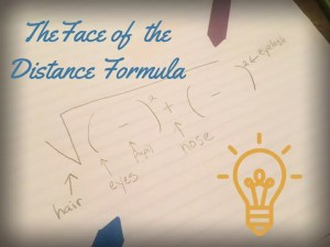 One way to help students remember the distance formula.