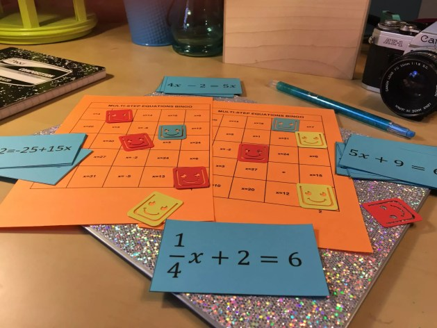 Check out this fun BINGO game, and 10 other easy to use activities for teaching students all about solving multi-step equations.
