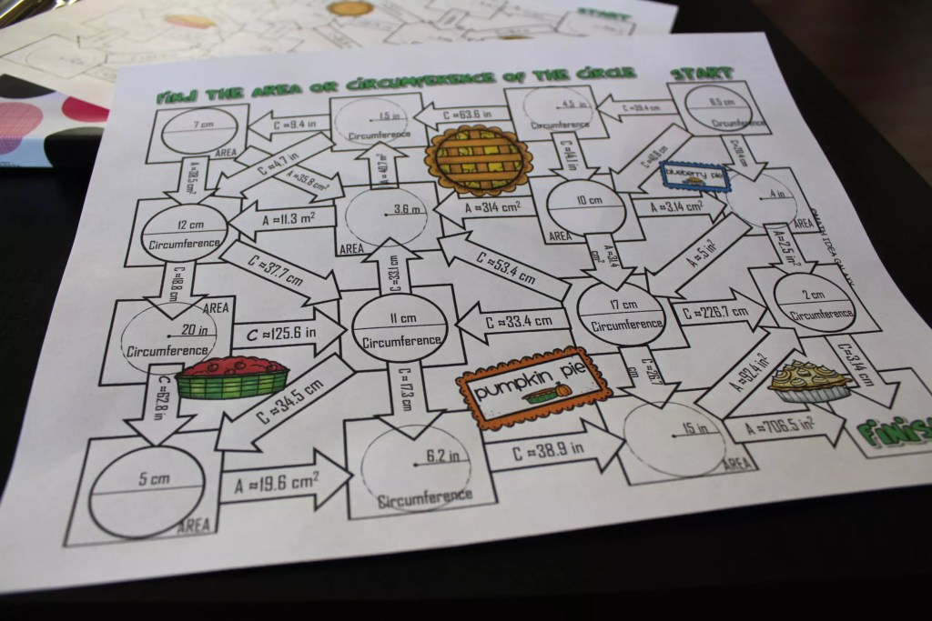 This area and circumference maze activity is one of my favorite ways to practice with circles. Check out all 10 engaging activities for area & circumference of a circle. Includes online tools, print and go resources, and 2 FREE downloads.