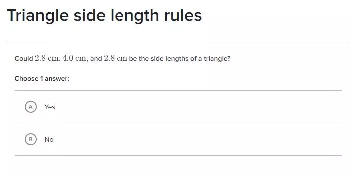 Get more practice problems for the triangle inequality theorem with Khan Academy. Check out all 11 activities for triangle inequality theorem.