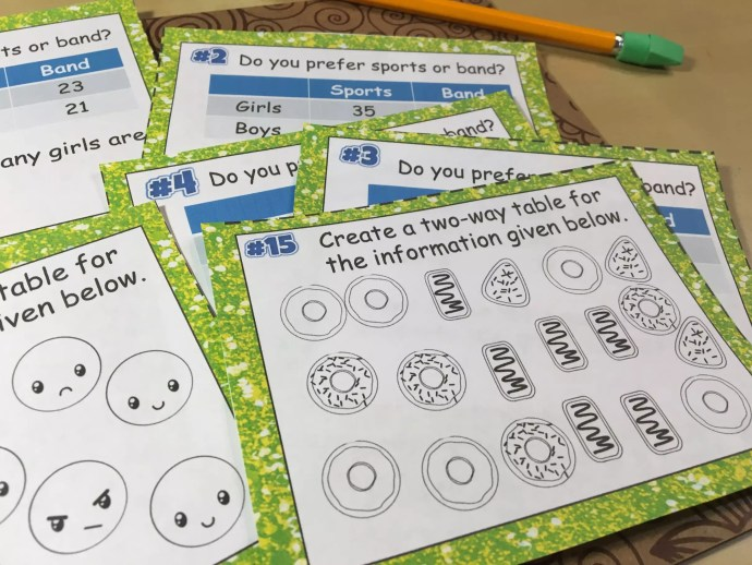 Task cards give students a variety of ways to get their two way tables practices. These versatile tools can be used for stations, independent practice, whole class review, and more. Check out all 11 two way tables activities, including 3 FREE two way tables downloads.