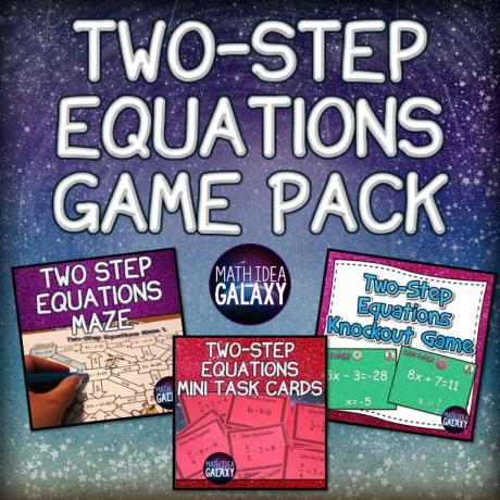These two-step equations games are great for whole class review, math stations, or just more independent practice. This bundle features these 2 great resources for a discount, and check out all 12 two-step equations activity ideas and resources, including a FREE download.